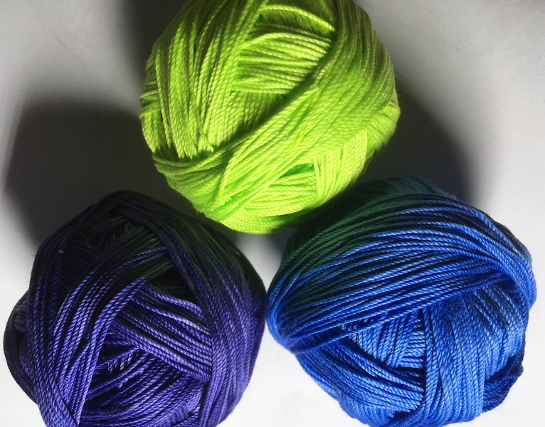 nightshade, lime pop and cornflower