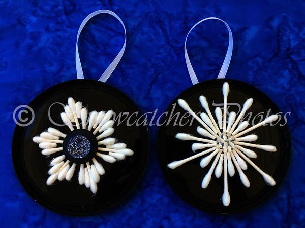 cotton swab snowflake ornaments