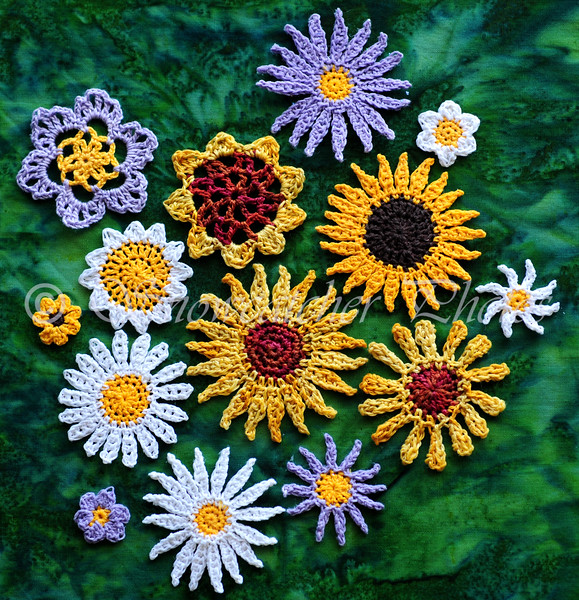 a garden of old thread crochet flowers
