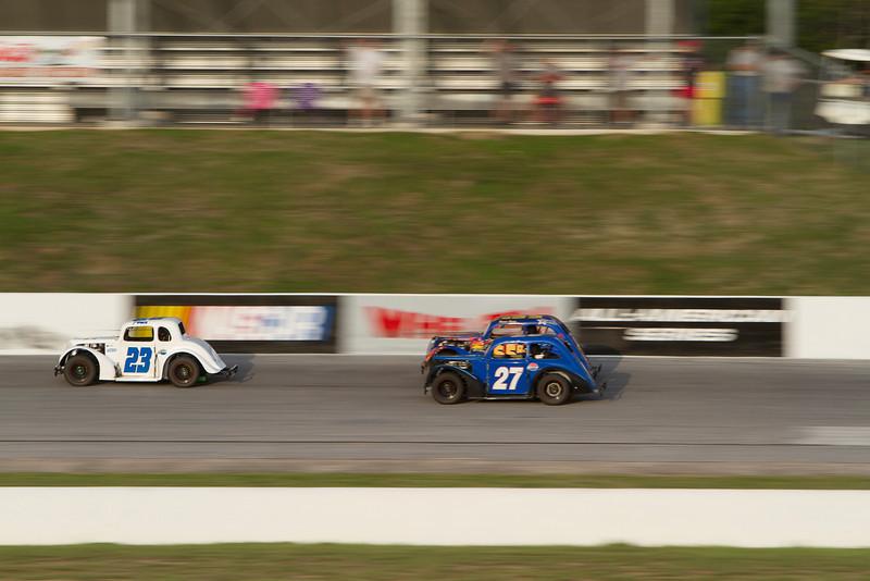 Houston Motorsports Park<br /> July 21, 2012<br /> Class: Legends<br /> Driver: Baiden Heskett (23), Unknown (27)
