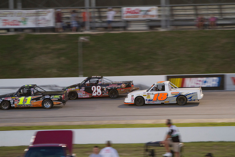 Houston Motorsports Park<br /> July 21, 2012<br /> Class: NASCAR BWFS 360 Trucks<br /> Driver: James Cates (11), Kevin Wiseman (28), Mike Kressley (18)