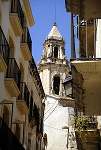 Street and church tower, Torredembarra, Spain, 1988