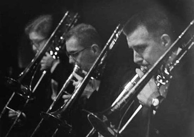 Trombone section, Univ. of Illinois Symphony, Lima, Peru, 1964Henry Howey, Scott Henderson, Dave Sporny (now Prof., Univ. of Mass.)