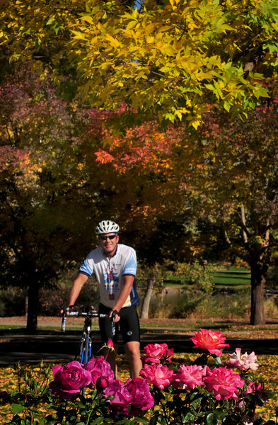 My favorite cyclist always makes me smile.<br /> Fall colors and roses in autumn make me smile, too!