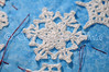 "<a href=""http://www.snowcatcher.net/2015/03/snowflake-monday_9.html"" target=""_blank"">Jackhammer Snowflake</a> appliqued and basted"
