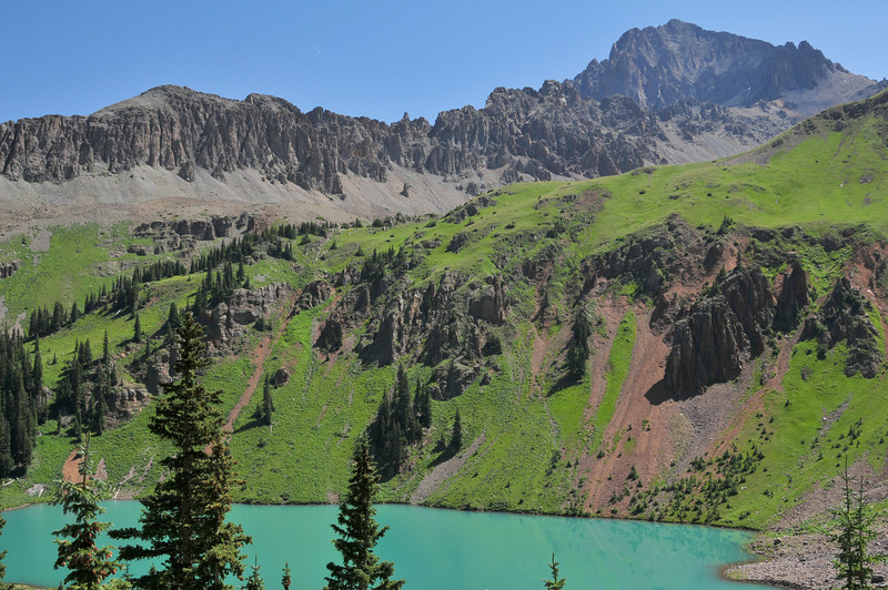 Mount Sneffels towers over Blue Lake