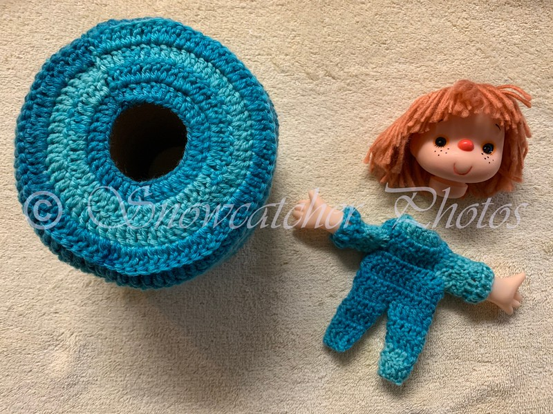 toilet paper cozy and handmade doll