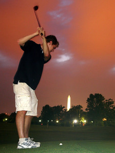 Taking aim for the Washington Manument - Washington, DC ... July 28, 2005 ... Photo by Harrison Osbourne