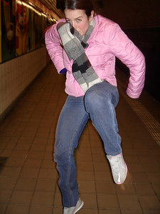 Christine and her flying kick - New York, NY ... January 4, 2006 ... Photo by Rob Page III