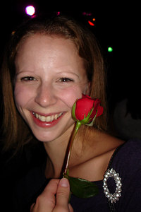 Emily enjoying her rose at the RnR Bar and Lounge - Washington, DC ... October 14, 2006