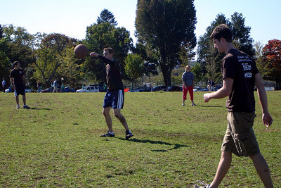 Playing kickball on the National Mall under the Washington Monument - Washington, DC ... October 14, 2006 ... Photo by Andrea