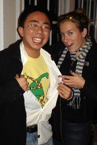 Jillian and Watson with the dinasour shirt - Washington, DC ... November 4, 2006