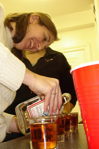 Christine making some drinks - Washington, DC ... November 4, 2006 ... Photo by Rob Page III