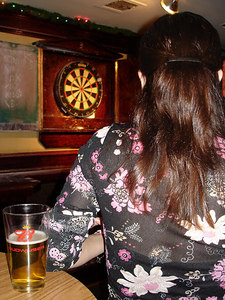 Christine with her beer - New York, NY ... January 3, 2006 ... Photo by Rob Page III
