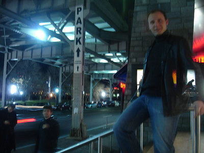 Nick, sliding down the rail outside of the cinema - Georgetown, DC ... January 27, 2006 ... Photo by Rob Page III