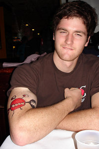 Jeremy showing off his Itchy Crab tattoo - Washington, DC ... September 30, 2006 ... Photo by Rob Page III