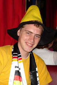Rob, cheering on Germany in the World Cup - Washington, DC ... June 30, 2006 ... Photo by Dermot Maher