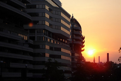 Sunset over Georgetown University with the Watergate complex to the left - Washington, DC ... June 22, 2006 ... Photo by Rob Page III