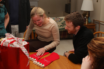 Heather and John open their stockings from Emily - Phoenixville, PA ... December 26, 2008 ... Photo by Bob Page Jr.