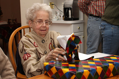 Grandma opening one of her gifts - Phoenixville, PA ... December 27, 2008 ... Photo by Bob Page Jr.
