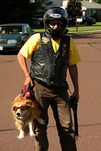 Randy with his dog getting ready to ride - Chalfont, PA ... August 3, 2008 ... Photo by Rob Page III