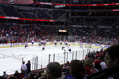 The Capitals warming up - Washington, DC ... December 28, 2008 ... Photo by John Fairley
