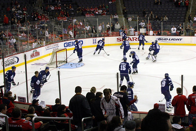 The Leafs warming up - Washington, DC ... December 28, 2008 ... Photo by John Fairley