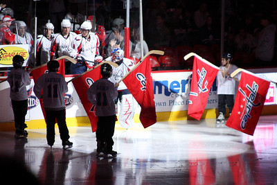 The Capitals come out onto the ice - Washington, DC ... December 28, 2008 ... Photo by Rob Page III
