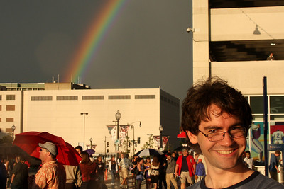 Dermot feels right at home with his Irish ranbow overhead - Washington, DC ... June 23, 2008 ... Photo by Rob Page III