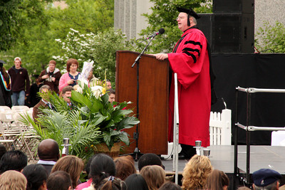The dean of the Lynch School of Education speaks at their ceremony - Chestnut Hill, MA ... May 18, 2009 ... Photo by Rob Page Jr.