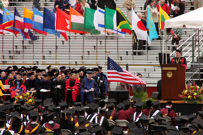 One of the deans speaking at the commencement ceremony - Chestnut Hill, MA ... May 18, 2009 ... Photo by Rob Page III