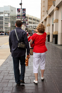 Joyce and John heading to the Indians game - Cleveland, OH ... July 1, 2009 ... Photo by Bob Page Jr.