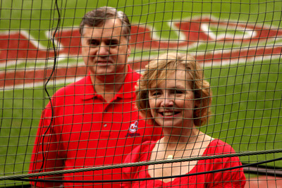Mom and Dad on the field - Cleveland, OH ... July 1, 2009 ... Photo by Heather Page