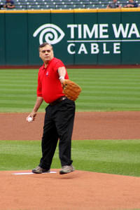 Dad winding up to throw out the first pitch - Cleveland, OH ... July 1, 2009 ... Photo by Heather Page