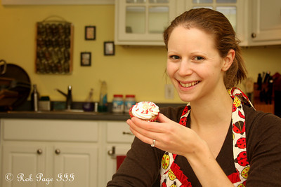 Emily and one of her cupcakes - Washington, DC ... December 4, 2009 ... Photo by Rob Page III