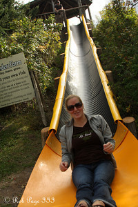 Heather at the bottom of the slide at Saunders Farm - Ottawa, ON ... September 26, 2009 ... Photo by Rob Page III