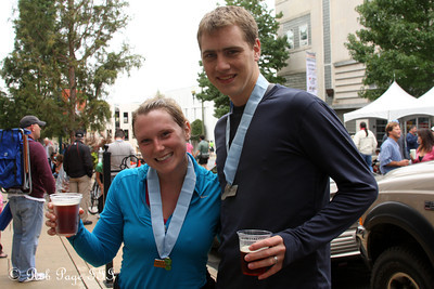 Rob and Meghan share a drink after their run - Asheville, NC ... September 17, 2011 ... Photo by Emily Page