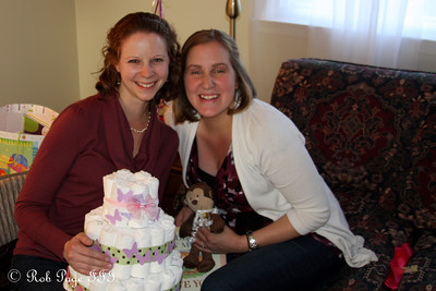 Emily and Heather with the diaper cake - Chalfont, PA ... April 7, 2012 ... Photo by Rob Page III