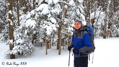 Rob hiking - White Mountain National Forest, NH ... January 29, 2017 ... Photo by Heather Page