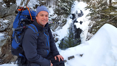 Scott at the Crystal Cascade - White Mountain National Forest, NH ... January 29, 2017 ... Photo by Rob Page III