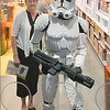 Mom and a Lego Stormtrooper...at least she dressed in the right colors