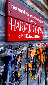 Climbing gear hangs outside Harvard Cabin - Gorham, NH ... January 27, 2018 ... Photo by Rob Page III