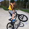 Matthew DeVoe, 10, from Fitchburg does some tricks with his bike at the Ryan C. Joubert Skatepark at Parkhill Park in Fitchburg on Tuesday afternoon. SENTINEL & ENTERPRISE/JOHN LOVE