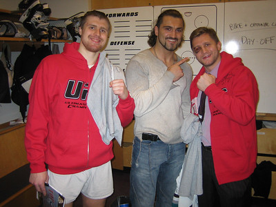 Ilya Bryzgalov, Andrei Arlovsky and Ruslan Salei in Ducks locker room, Anaheim, 2006