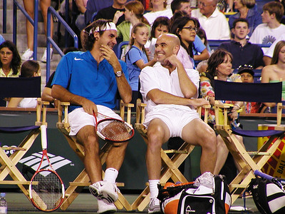 Federer and Agassi at Indian Wells, CA, 2005
