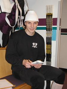 Sergei Fedorov in the Anahaeim Ducks locker room, 2004