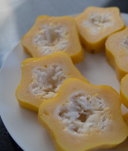 Our first taste of a fruit called a Babaco. Looks like a papaya, tastes a bit like starfruit. Jan 2013.