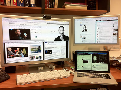 At my office watching the world say goodbye to Steve Jobs, RIP. Oct 2011