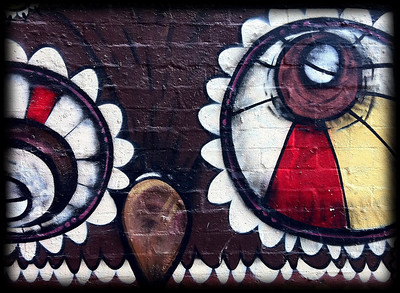 """Owl in Downtown Melbourne"". Part of a large and intricate graffiti mural. The artist(s) signed off as Bansai Two Nails."