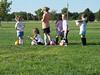 First soccer practice, Sept. 2007 (l to r: Ashlyn, Justine, coach's older kid, Zoey, Owen, Bella)